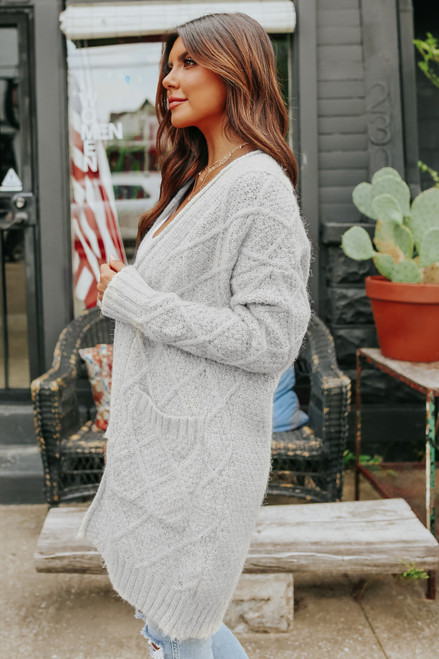Open Front Two Tone Cable Cardigan
