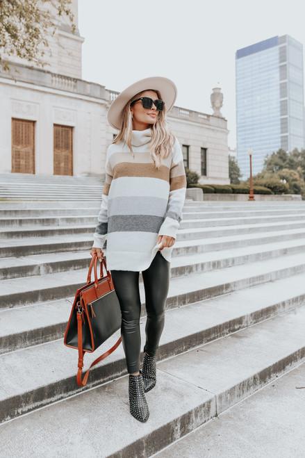 Turtleneck Neutral Colorblock Tunic Sweater