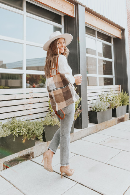 Cloverly V-Neck Heather Oatmeal Sweater