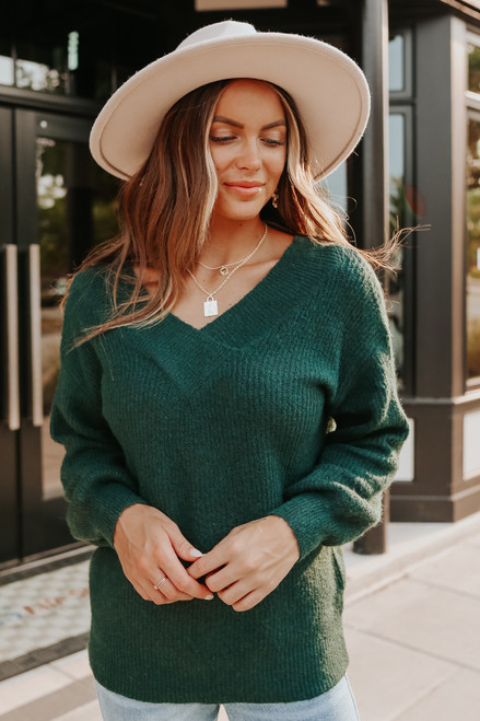 Cloverly V-Neck Forest Green Sweater