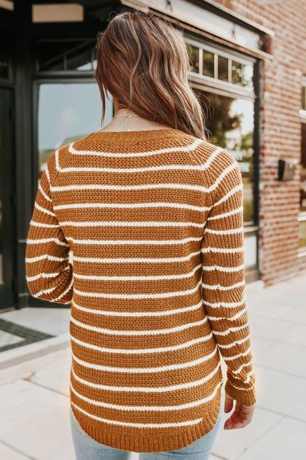 Camden Amber Striped Curved Hem Sweater