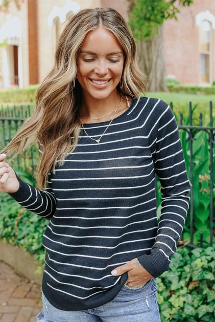 Boston Boatneck Navy Striped Sweater