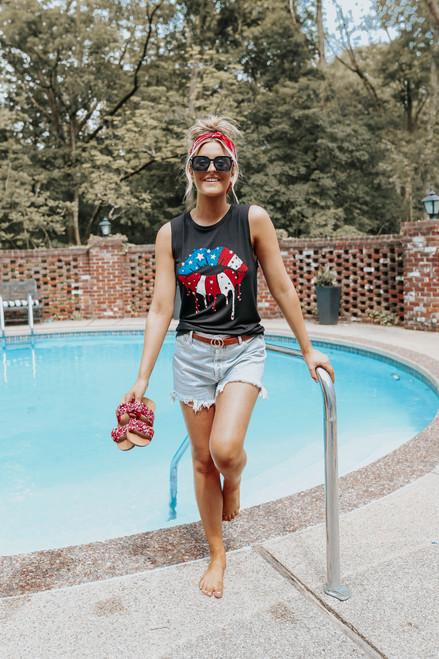 American Flag Lips Muscle Tank