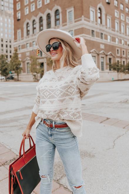 Kodiak Cottage Taupe Printed Sweater