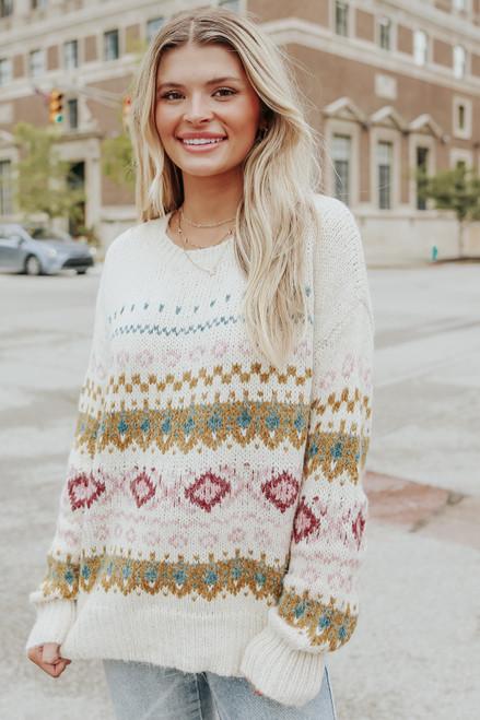 Nordic Trail Ivory Fair Isle Sweater