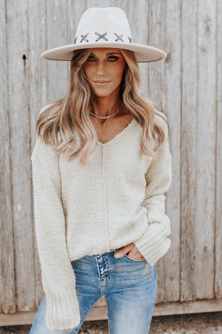 V-Neck Seam Detail Ivory Boucle Sweater