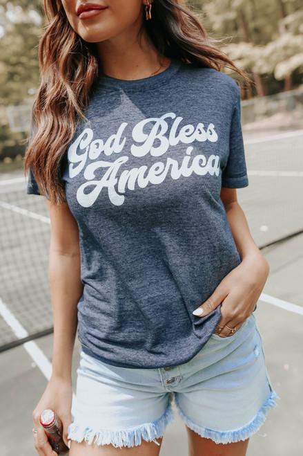 God Bless America Navy Burnout Tee