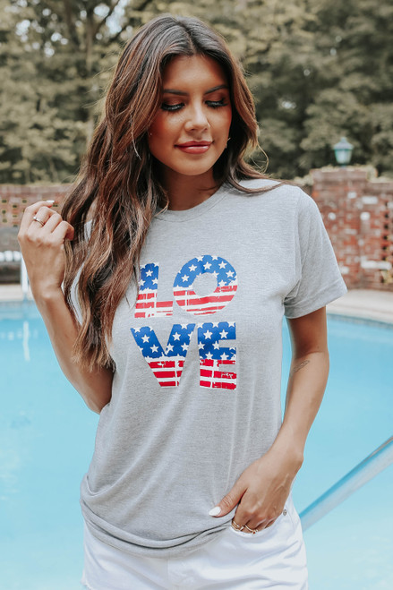 Love Distressed Flag Graphic Tee