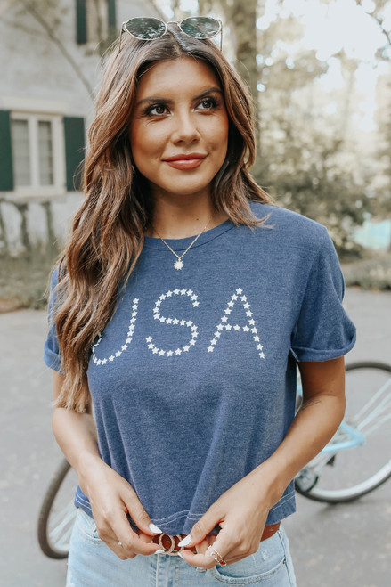 USA Star Cropped Graphic Tee