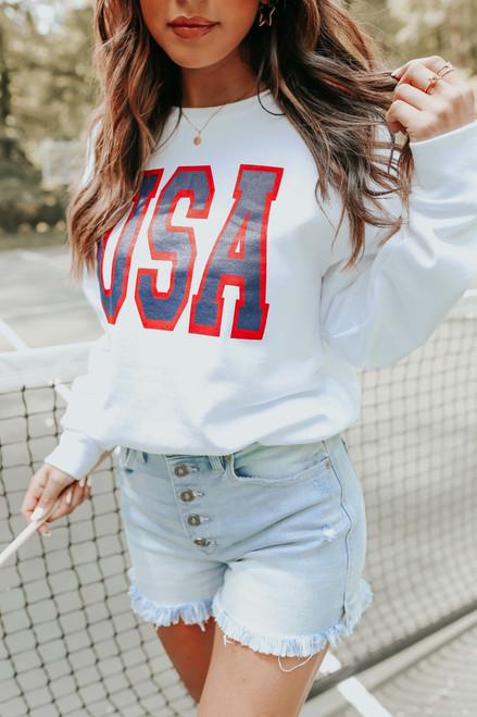 USA White Crew Sweatshirt