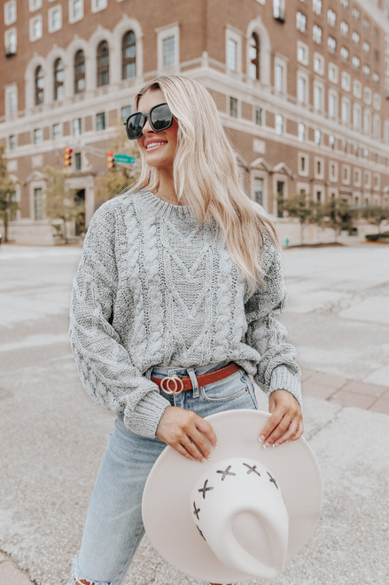 French Quarter Grey Cable Chenille Sweater