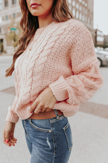 French Quarter Pink Cable Chenille Sweater