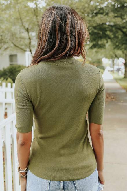 Linden Mock Neck Olive Lightweight Sweater