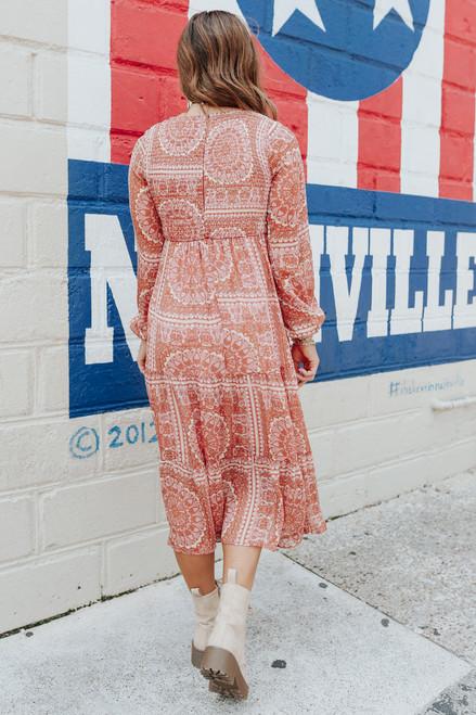 Smocked Brick Medallion Printed Midi Dress