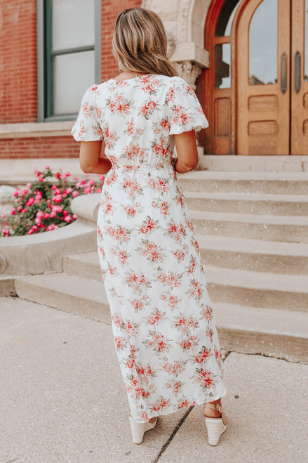 Puff Sleeve Floral High Low Faux Wrap Dress