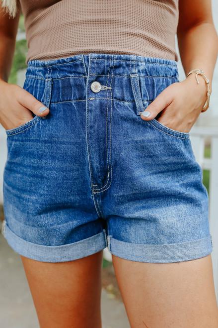 Viv Medium Wash Paperbag Denim Shorts