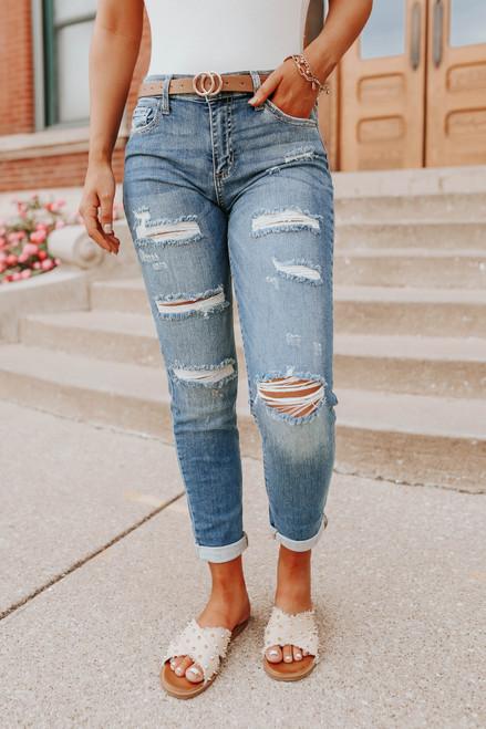 Backstage Medium Wash Distressed Skinny Jeans