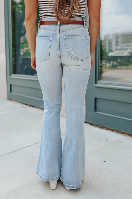 Memphis Light Wash Distressed Flare Jeans