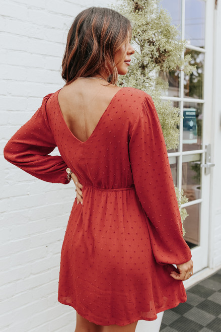 V-Neck Rust Dotted Empire Dress