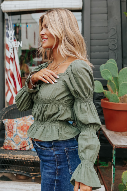 Square Neck Puff Sleeve Olive Peasant Top