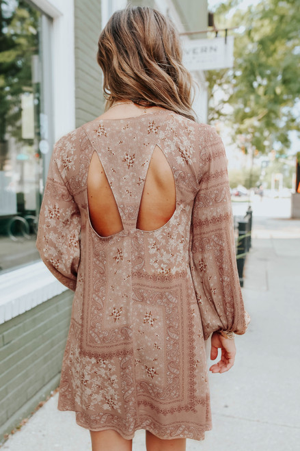 V-Neck Cutout Mixed Paisley Print Dress