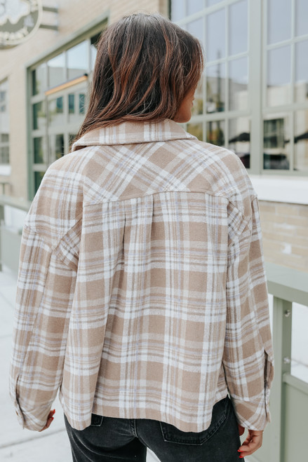 On the Trail Camel Plaid Shacket