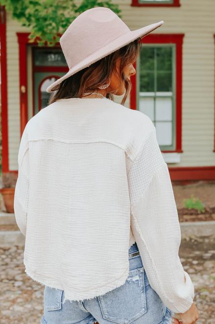 Contrast Henley Frayed Vanilla Top
