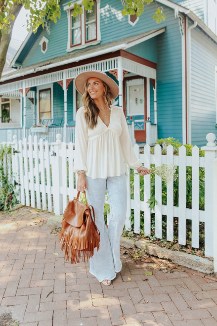 V-Neck Smocked Cream Dotted Empire Top