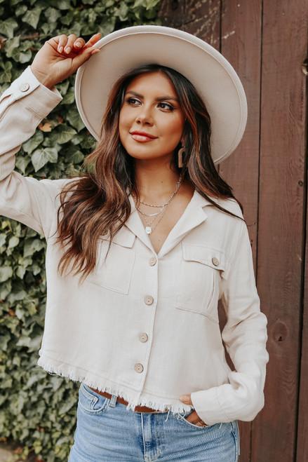 Button Down Sand Frayed Linen Shirt
