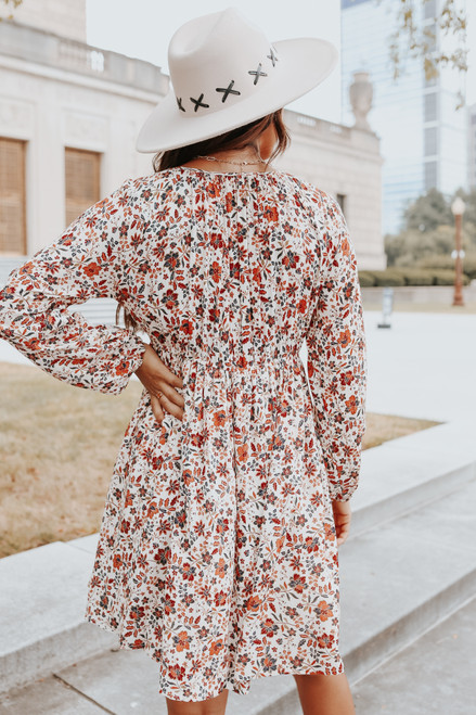 V-Neck Cream Floral Babydoll Dress