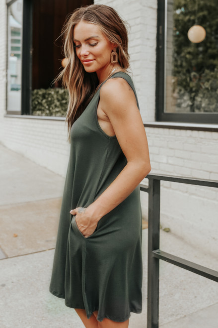 Weekend Explorer V-Neck Olive Grey Tank Dress