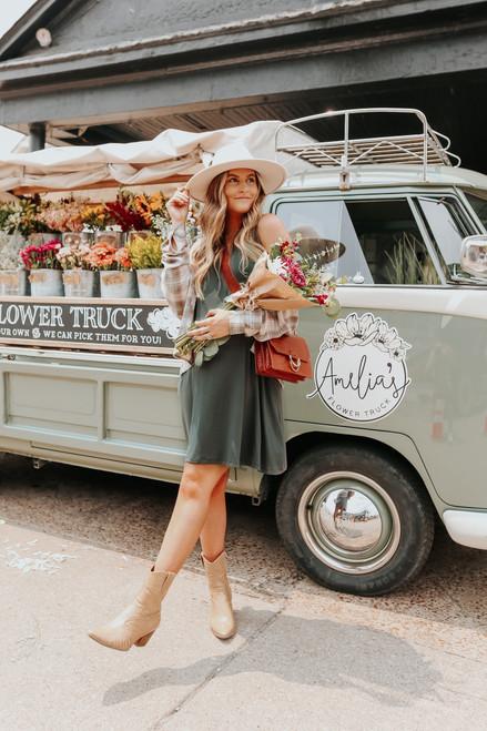 Weekend Explorer V-Neck Stone Olive Tank Dress
