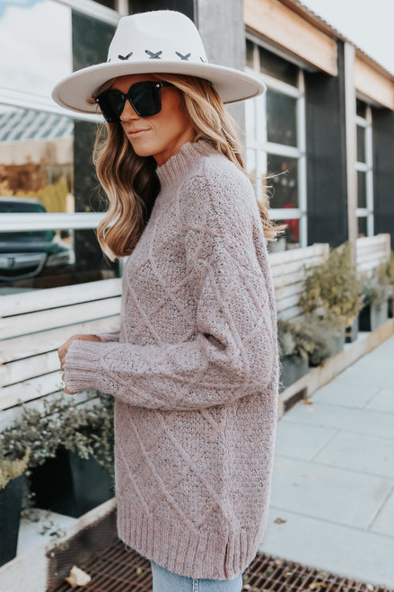 Mock Neck Two Tone Blush Cable Sweater