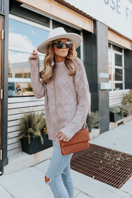 Mock Neck Two Tone Blush Cable SweaterMock Neck Two Tone Blush Cable Sweater