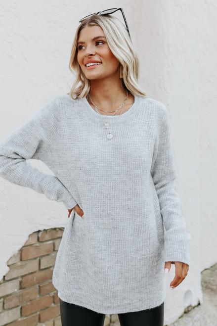 Autumn Glow Brushed Grey Waffle Sweater