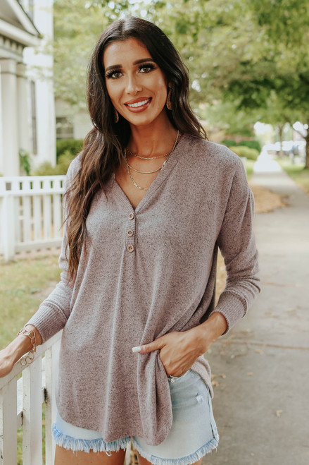 Soft Brushed Heather Blush Henley Top