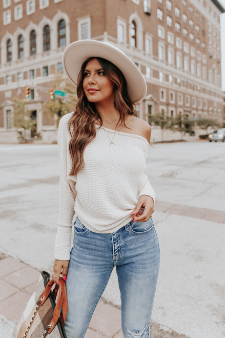 Contrast Stitch Boatneck Oatmeal Thermal Top
