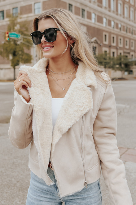 Aviator Faux Suede Taupe Fur Jacket