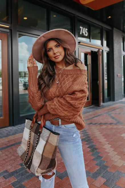 Aspen Woods Raglan Cinnamon Cable Sweater