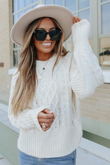 Aspen Woods Raglan Cream Cable Sweater