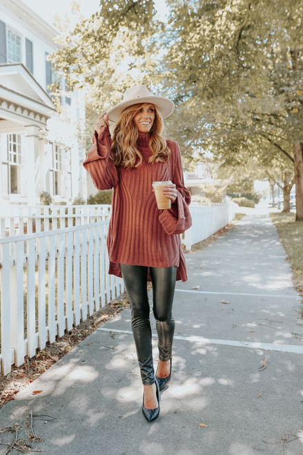 Turtleneck Cinnamon Ribbed Tunic Sweater