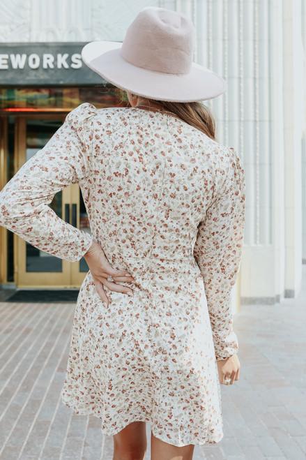 Fall Farmhouse V-Neck Cream Floral Dress