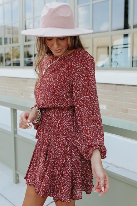 Carmine Tie Waist Burgundy Floral Dress