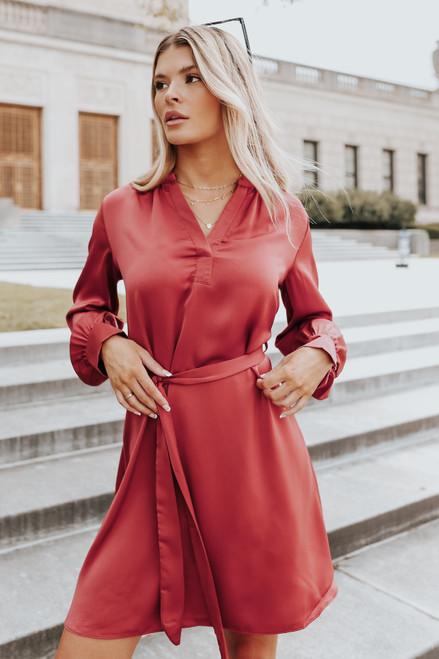 Tie Waist Marsala Satin Shirt Dress