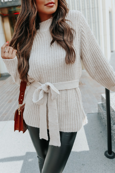 Mock Neck Tie Waist Taupe Sweater
