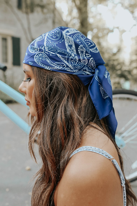 Kira Blue Paisley Satin Scarf