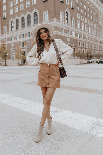 Faux Suede Button Down Camel Skirt