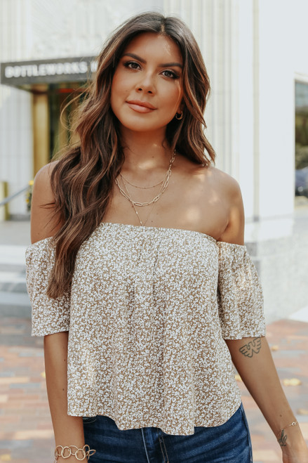 Off the Shoulder Taupe Ditsy Floral Top