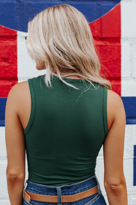 Sleeveless Green Ribbed Bodysuit