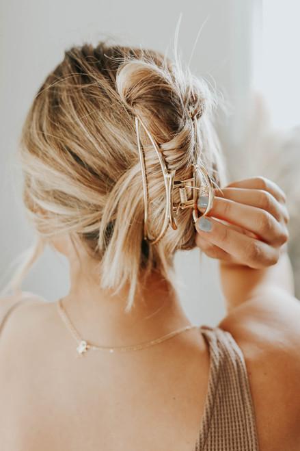 Crescent Gold Metal Hair Clip